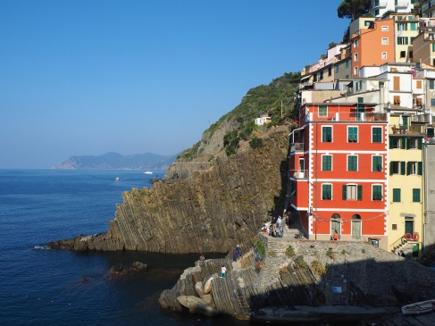 Looking down to the tiny harbour of Riomaggiore.