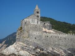 First sight of Porto Venere - a striped church on a striped cliff