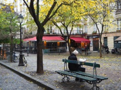 In early December there were still leaves on the street trees and it was mild enough to read outside
