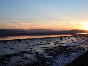 river tweed winter sunset
