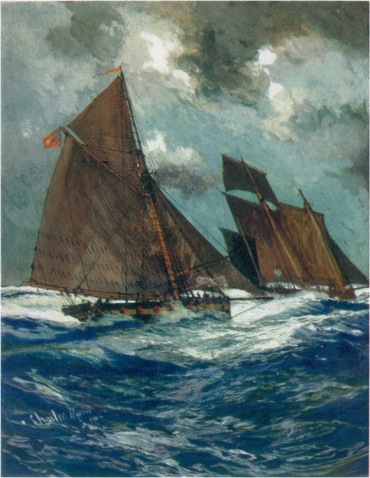 A Revenue cruiser chasing a smuggling lugger - from the a painting by Charles Dixon