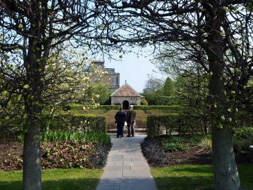 The path from the Demonstration Garden to the Queen Mother memorial rose garden