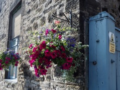 The entrance to the local print works is decorated with hanging baskets