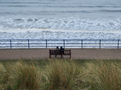 Looking out to sea through the prom railings - March 2020