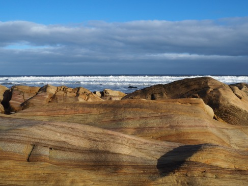 Sandstone strata and white-topped waves - February 2020