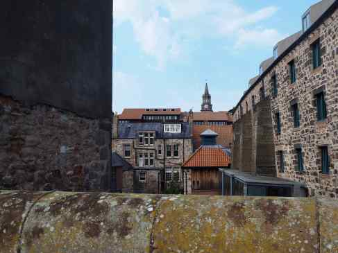 The interlocking forms of buildings, seen from Berwick's quay walls, suggest the layered history of this old part of the town.