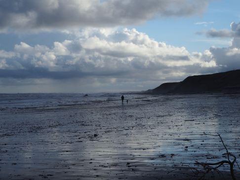 Lone dog walker on Spittal beach - December 2020